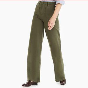 NWT J. CREW POINT SUR Wide Leg Olive Green Pants